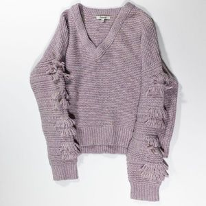 Madewell Fringe Knit Sleeve Cotton Sweater Jumper